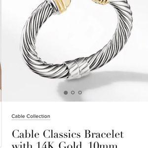 David yurman 10mm dome 14k gold ss bracelet
